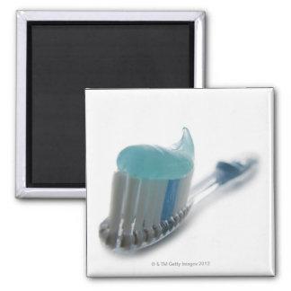 Cepillo de dientes y crema dental imán cuadrado