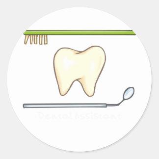 Cepillo dental apacible del espejo del diente pegatinas redondas