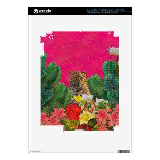 Cepillo floral del aceite del tigre rosado iPad 3 pegatina skin