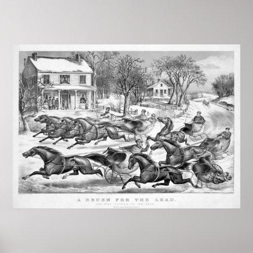 Cepillo para el poster 1867 del trineo del inviern