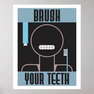 Cepillo retro fresco su poster de los dientes