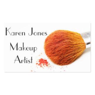 Cepillo y polvo del artista de maquillaje tarjetas de visita