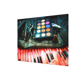 Cepillos del maquillaje impresión en lienzo