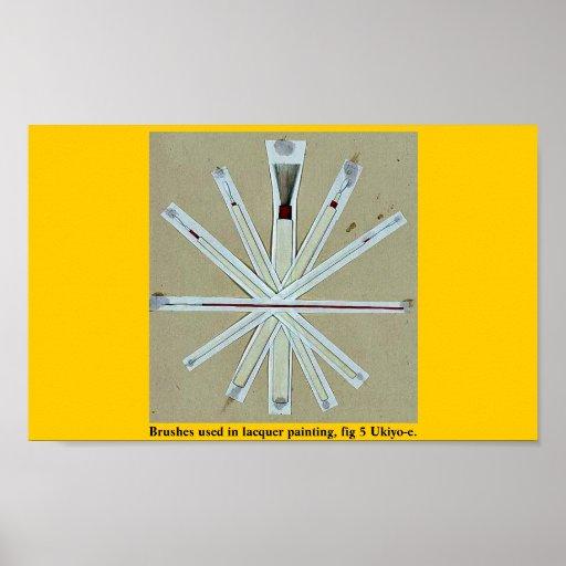 Cepillos usados en la pintura de la laca, higo 5 U Poster