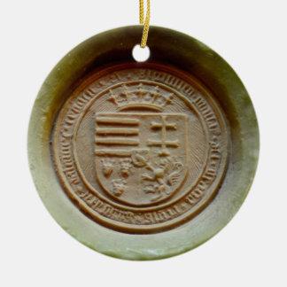 Cera de Hungría del museo de Budapest del sello de Adorno Navideño Redondo De Cerámica