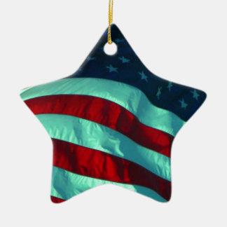 Ceramic American Flag Star Shaped Ornament