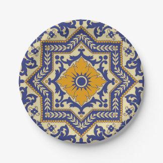 Ceramic Azulejo Style Blue Orange Paper Plate