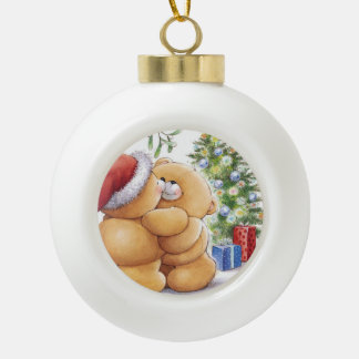 Ceramic Ball Ornament/Hugging Teddy Bears Ceramic Ball Christmas Ornament