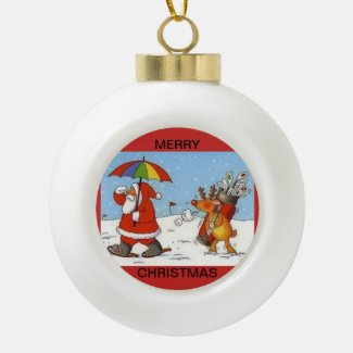 Ceramic ball ornament with Santa and his Caddie