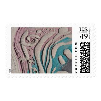Ceramic carved slab with underglaze colors unfired postage
