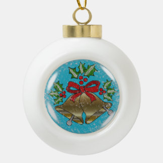 Ceramic Christmas Bell Ball Ornament