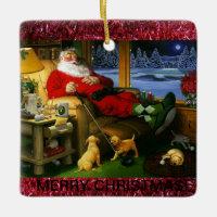Ceramic Golf Themed Christmas Ornament