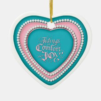 Ceramic Heart Shaped Christmas Ornament_AquaPink_3 Ornament