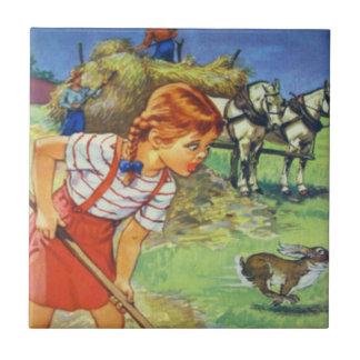 Ceramic Kitchen Tile-Country Farm Girl and Hay Ceramic Tile