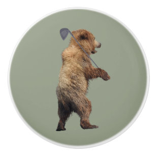 Ceramic Knob W/ Grizzly Bear Cub W/ Golf Club