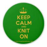 [Knitting crown] keep calm and knit on  Ceramic Knobs Ceramic Knob