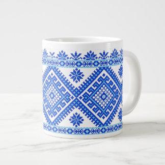 Ceramic Mug Blue on Blue Ukrainian Cross Stitch