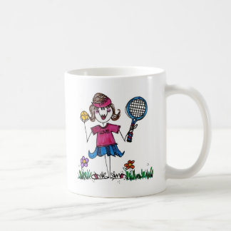 Ceramic Mug-Stick Tennis Girl Coffee Mug