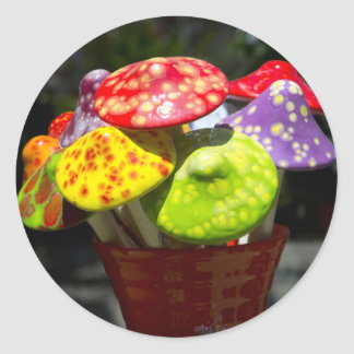 Ceramic mushrooms classic round sticker