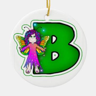 Ceramic Ornament Cute Fairy Initial Green B