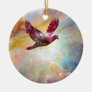 Ceramic Ornament Dove Flying Through the Universe