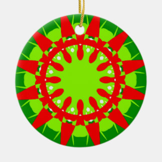 Ceramic Ornament with Bright Red and Greens