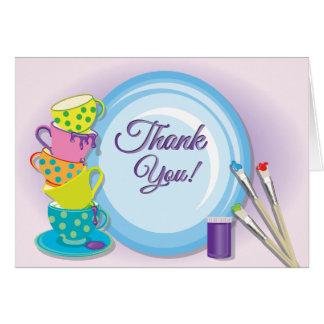 Ceramic Painting Party Thank You Notes Card