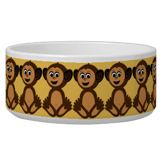Ceramic Pet Bowl, Graphic Monkey Bowl