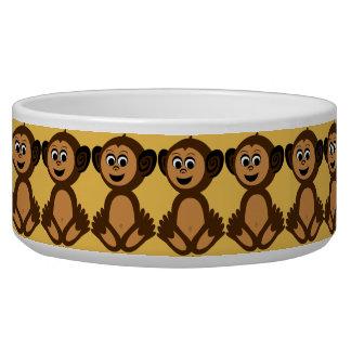 Ceramic Pet Bowl, Graphic Monkey Bowl
