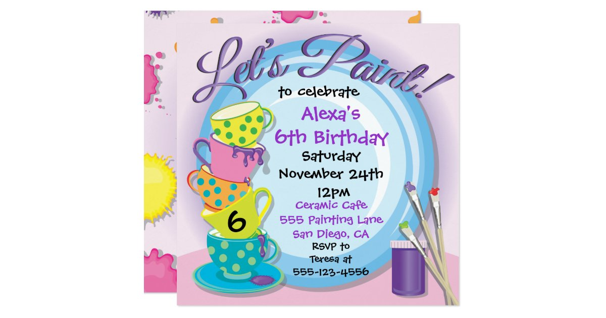 Painting Party Invitations Announcements – Painting Birthday Invitations