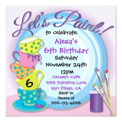 Paint Your Own Pottery Birthday Party Invitation – Artist Party Invitations