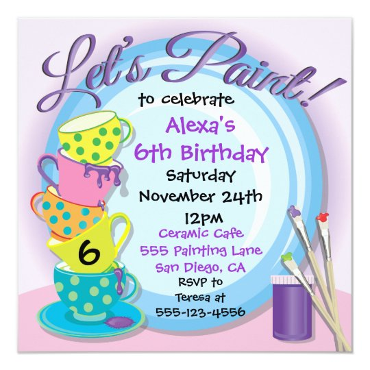 ceramic pottery painting party invitations zazzle com