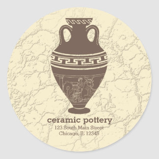 Ceramic pottery round sticker