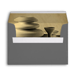 Ceramic Pottery Still Life Charcoal Pencil Sketch Envelope