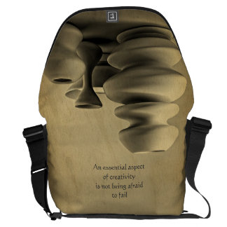 Ceramic Pottery Still Life Charcoal Pencil Sketch Messenger Bag