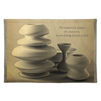 Ceramic Pottery Still Life Charcoal Pencil Sketch Place Mat