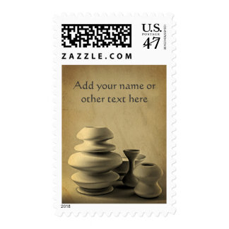 Ceramic Pottery Still Life Charcoal Pencil Sketch Postage