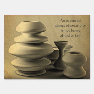 Ceramic Pottery Still Life Charcoal Pencil Sketch Sign