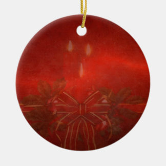 Ceramic Red Candle Christmas Ornament