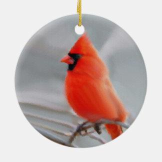 Ceramic Red Cardinal Christmas Ornament