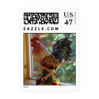 Ceramic Rooster in Sunny Window Postage