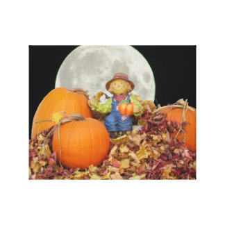 Ceramic Scarecrow King on His Pumpkin Throne Canvas Print