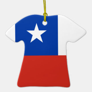 Ceramic Sports Shirt With Chile Flag Double-Sided T-Shirt Ceramic Christmas Ornament