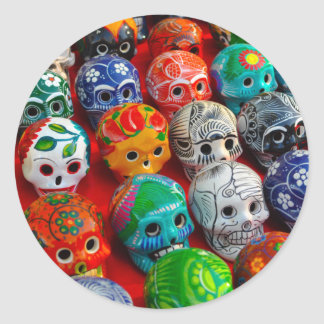 Ceramic Sugar Skulls in Mexico Classic Round Sticker