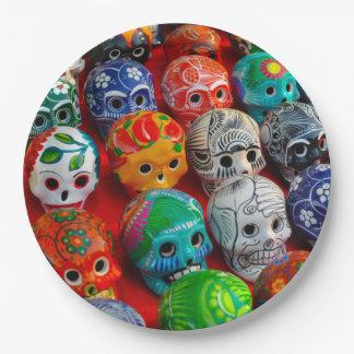 Ceramic Sugar Skulls in Mexico Paper Plate