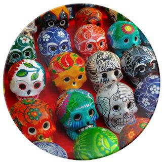 Ceramic Sugar Skulls in Mexico Plate
