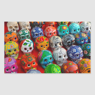 Ceramic Sugar Skulls in Mexico Rectangular Sticker