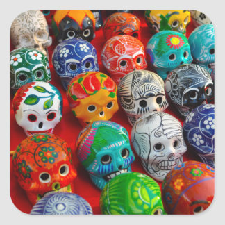 Ceramic Sugar Skulls in Mexico Square Sticker