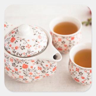 Ceramic Tea Set Square Sticker