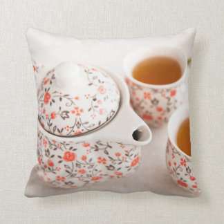 Ceramic Tea Set Throw Pillow